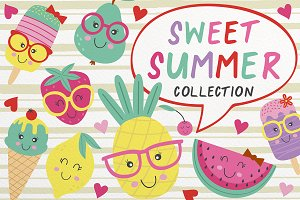 fruits and ice cream collection