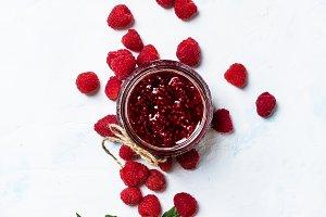 Raspberry jam and fresh raspberries