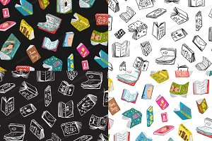 Books Seamless Pattern Backgrounds