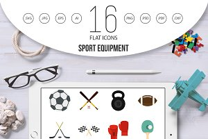 Sport equipment icons set, flat