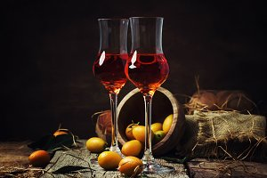 Traditional greek kumquat liqueur in