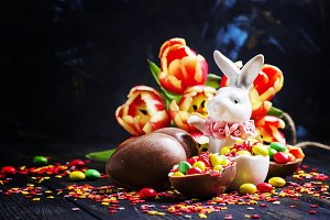 Easter composition with white rabbit