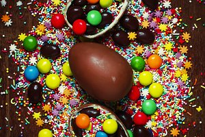 Easter background with chocolate egg