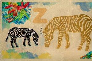 English alphabet , Zebra
