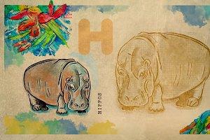 English alphabet ,  Hippos