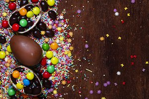 Easter chocolate eggs and colorful s