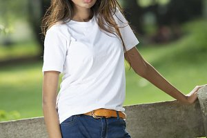 Young female model in white t shirt