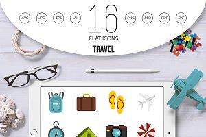 Travel icons set, flat style