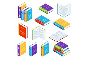 Set of isometric book icons.