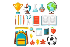 School and education items.