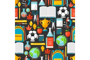 School seamless pattern with