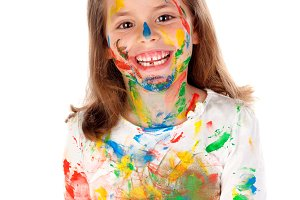 Funny girl dirty with paint