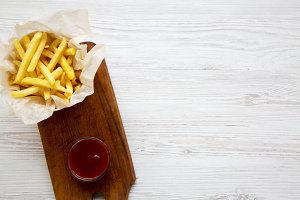From above french fries with ketchup