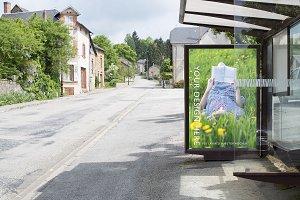 Layered bus stop mockup