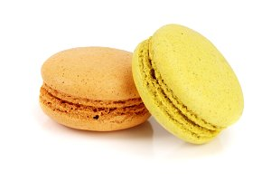 orange and yellow macaroon isolated