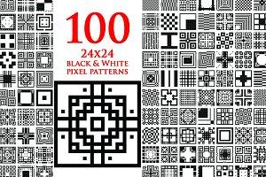 One Hundred 24x24 B/W Pixel Patterns