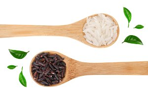 white and black rice grains in
