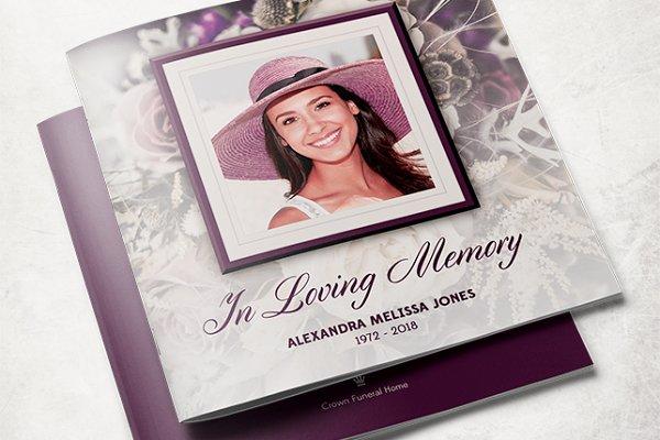 Purple Rose Funeral Program Templat…