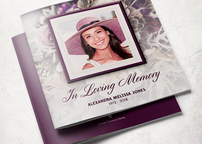 purple rose funeral program template brochure templates. Black Bedroom Furniture Sets. Home Design Ideas
