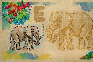 English alphabet , Elephant