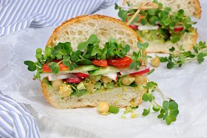 Sandwich with radish sprouts