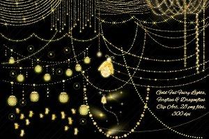 Gold Fairy Light Strings & Fireflies