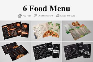 Food Menu Tri Fold - 6 Templates