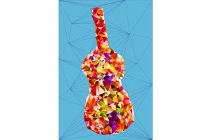 Abstract colorful polygonal guitar
