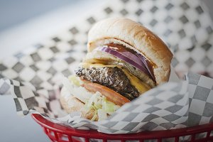 Cheeseburger in a Basket