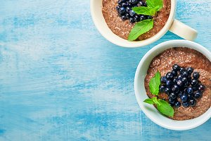 two boils with Chia seed pudding