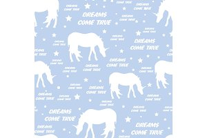 Seamless pattern with white unicorns