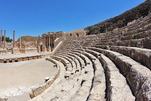 The seats and a stage in the Roman a