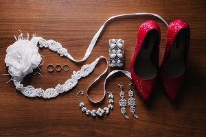Red shoes and wedding details