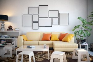 Picture frame set in the living room