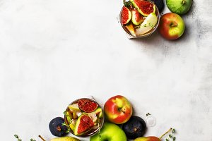 Fruit cocktail with wine, pears, app