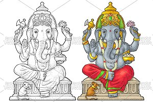 Ganpati with mouse for poster Ganesh
