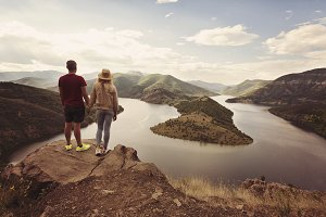 Hiking couple looking at the view