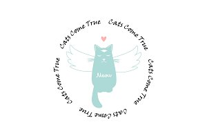 Funny cat with wings and circle text