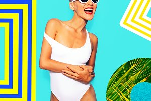 Happy blonde model in stylish white