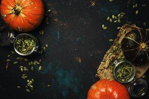 Healthy food, raw pumpkin seeds in g