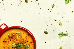 Spicy pumpkin soup puree with spices