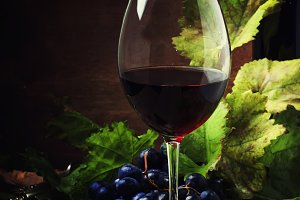 Red wine from grapes of cabernet sau