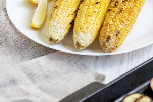 Grilled corn on a white plate