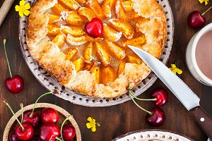 Rustic open pies with apricots and r