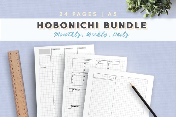 Daily, Weekly, Monthly - Hobonichi in Stationery Templates