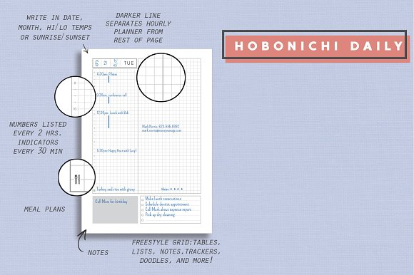 Daily, Weekly, Monthly - Hobonichi in Stationery Templates - product preview 1