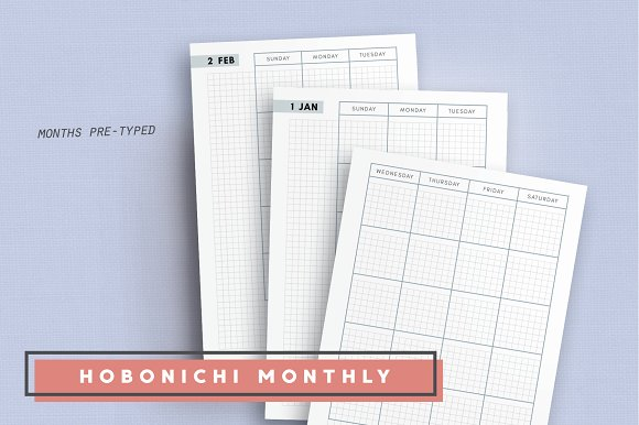 Daily, Weekly, Monthly - Hobonichi in Stationery Templates - product preview 4
