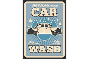 Car wash service vector retro poster