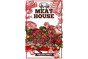 Vector sketch meat house poster
