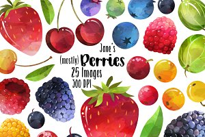 Watercolor Berries Clipart
